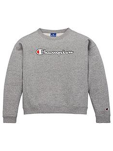 champion-girls-logo-crew-neck-sweat-grey