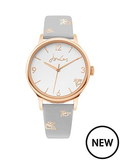 joules-joules-buckland-white-satin-dial-grey-with-gold-metallic-print-strap-ladies-watch