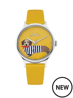 joules-joules-everley-mustard-sausage-dog-print-dial-mustard-silicone-strap-ladies-watch