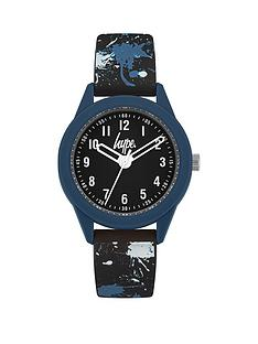 hype-hype-black-and-blue-detail-dial-paint-splat-printed-silicone-strap-kids-watch