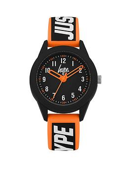 hype-hype-black-and-orange-detail-dial-black-and-orange-stripe-just-hype-printed-silicone-strap-kids-watch