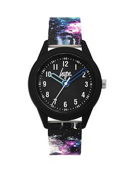 hype-hype-black-and-blue-detail-dial-galaxy-print-silicone-strap-kids-watch