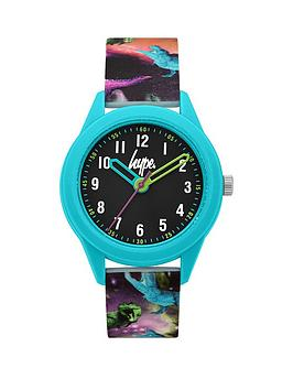 hype-hype-black-and-blue-case-dial-dinosaur-print-silicone-strap-kids-watch