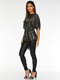 quiz-x-sam-faiers-sequin-batwing-belted-top-black