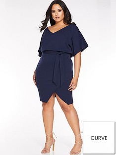 quiz-curve-quiz-curve-v-neck-navy-batwing-wrap-midi-dress