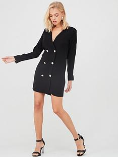 river-island-river-island-long-sleeve-button-front-tux-dress-black