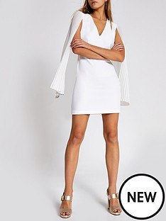 river-island-river-island-pleated-sleeve-mini-bodycon-dress--white