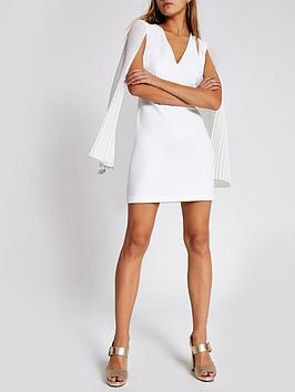 river-island-river-island-pleated-sleeve-mini-bodycon-dress--white