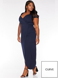 quiz-curve-quiz-curve-navy-cap-sleeve-wrap-maxi-dress