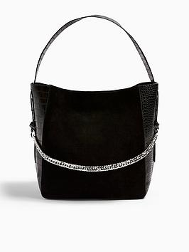 topshop-leather-mix-hobo-bag-black