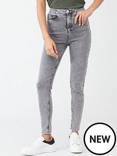 v-by-very-charley-high-waisted-5-pocket-acid-wash-skinny-jean-grey