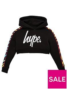 hype-girls-zebra-panel-cropped-hoodie-black