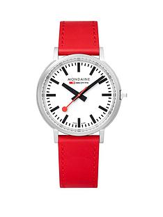 mondaine-mondaine-swiss-made-stop2go-white-sapphire-dial-with-backlight-and-stainless-steel-brushed-41mm-case-dial-red-leather-strap-watch