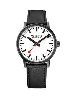 mondaine-mondaine-swiss-made-evo2-white-sapphire-glass-dial-black-ip-stainless-steel-40mm-case-black-leather-strap-watch