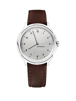 mondaine-mondaine-swiss-made-helvetica-no1-regular-silver-sapphire-glass-hand-winder-dial-polished-stainless-steel-40mm-case-brown-leather-strap-watch