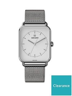 david-daper-david-daper-white-and-silver-38mm-tank-dial-stainless-steel-mesh-strap-watch