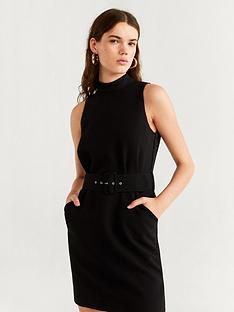 mango-high-neck-belted-dress-black