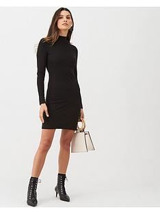 mango-high-neck-ribbed-bodycon-dress-black