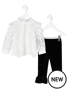 river-island-mini-mini-girls-lace-top-and-legging-set-whiteblack