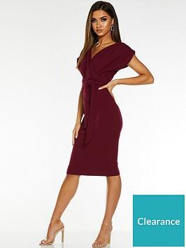 quiz-quiz-berry-wrap-batwing-ruched-sleeve-belt-midi-dress