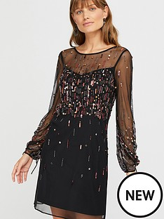 monsoon-stephanie-star-embellished-short-dress-black