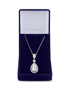 jon-richard-cubic-zirconia-tennis-pear-crystal-drop-pendant