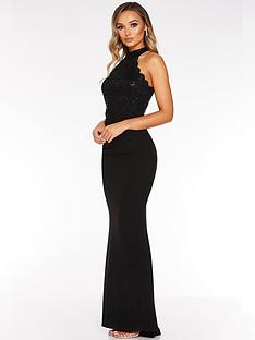 quiz-sequin-lace-top-fishtail-maxi-dress-black