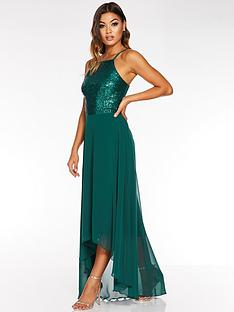 quiz-sequin-square-neck-chiffon-dip-hem-green