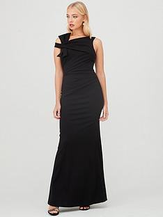 quiz-scuba-crepe-side-bow-fishtail-maxi-dress-black