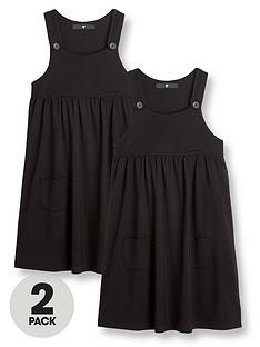 v-by-very-2-pack-girls-jersey-school-pinaforenbspdressesnbsp--black