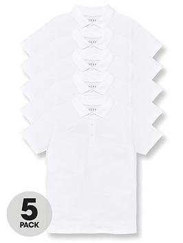 v-by-very-boys-5-pack-polo-school-tops-white