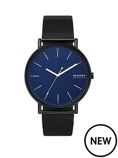 skagen-skagen-blue-dial-black-leather-strap-watch