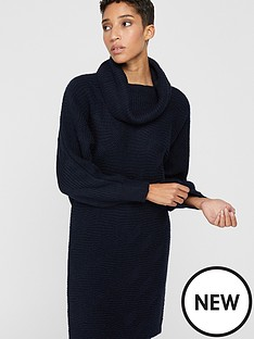 monsoon-connie-cowl-neck-dress-navy