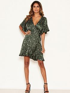 ax-paris-printed-satin-wrap-dress-green