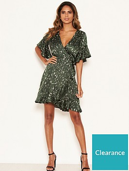 ax-paris-printed-satin-wrap-dress-green