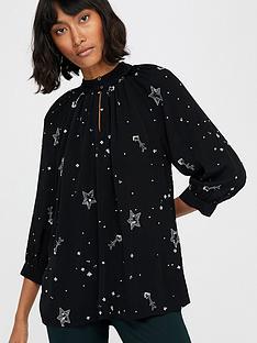 monsoon-ellie-star-embellished-top-black