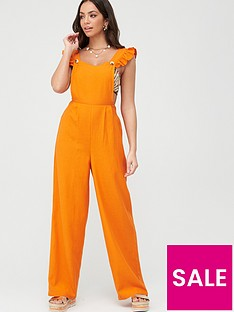 v-by-very-frill-pinafore-linen-beach-jumpsuit-orange