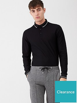 river-island-long-sleeve-tipped-collar-polo