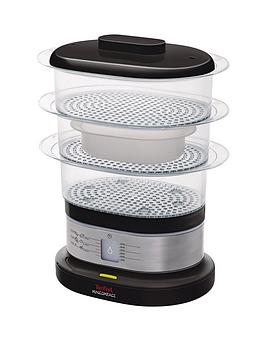 tefal-vc135215-mini-compact-food-steamer-three-tier-65l-food-capacity-black-and-chrome