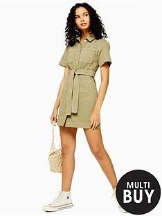 topshop-topshop-utility-mini-dress-khaki