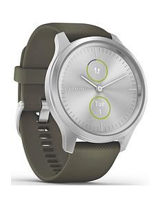 garmin-vivomove-style-hybrid-smartwatch-moss-green-silicone-strap-with-silver-hardware