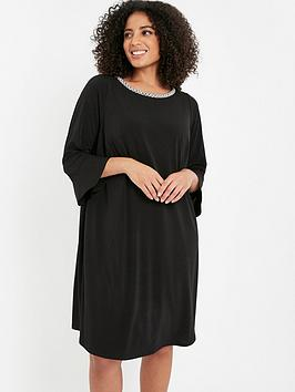 evans-pearl-trim-frill-sleeve-dress