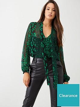 wallis-animal-tie-neck-blouse-green
