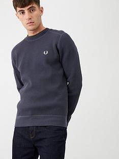 fred-perry-waffle-textured-crew-neck-jumper-charcoal