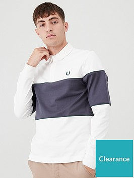 fred-perry-panelled-long-sleeved-polo-shirt-white