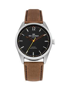 ben-sherman-ben-sherman-spitalfields-social-tan-leather-strap-watch-with-brushed-black-dial