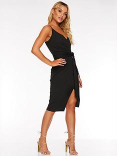 quiz-scuba-crepe-wrap-front-strappy-midi-dress-black