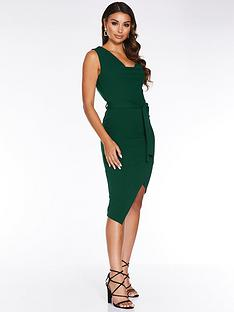 quiz-crepe-cowl-neck-asymmetricnbspwrap-hem-dress-green