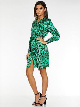 quiz-satin-leopard-print-long-sleeve-belted-shirt-dress-green
