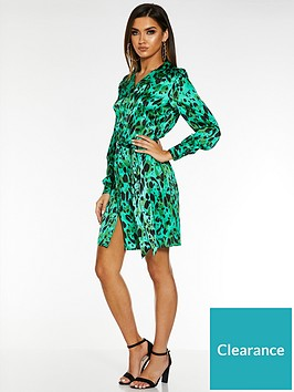 quiz-satin-leopard-print-long-sleeve-belted-shirt-dress-green